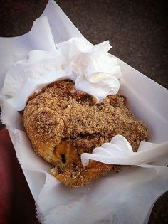 Deep Fried Taste of Autumn. Batter fried leaves raked from the lawn? Nope. Pumpkin pie filling with ginger snaps