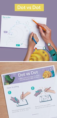 Connect-the-dots with a two-player twist. Dot vs Dot is a brilliant fun drawing game for grownups and kids. Race against the clock for extra fun. Fun Drawing Games, Drawing Activities, Printable Activities For Kids, Connect The Dots, Play Ideas, Growing Up, Connection, Numbers, Finding Yourself