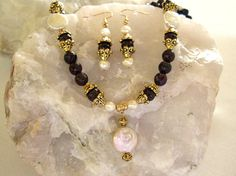 ON SALE Gorgeous Ornate Faceted Garnet Necklace Freshwater