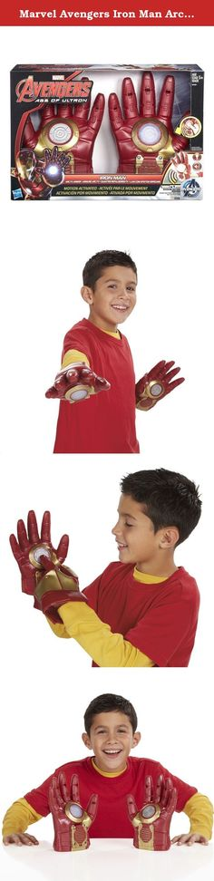 Marvel Avengers Iron Man Arc FX Armor Hands. Iron Man uses his top technology to battle evildoers - and now you can too. When it's time to take on the bad guys, slip on your electronic Iron Man glove and matching non-electric glove to assume your superhero identity. The electronic glove has motion-activated technology and makes power-up, power-down and battle sounds, so you're ready for a fight all the time. It's going to be another win for you as your favourite high-tech hero. Requires 1...