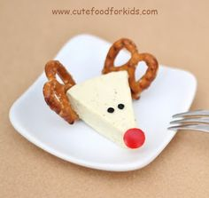 Reindeer made from Laughing Cow wedges.