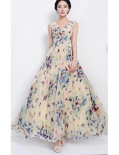 das mulheres impressão borboleta vestido bege, vintage / impressão / u maxi sem mangas pescoço balanço