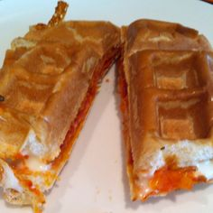 Pizza Waffles! Took less than five minutes and lunch was done. Hamburger buns, tomato sauce, cheese, turkey pepperoni - put in waffle iron for about 1-2 minutes. Done!