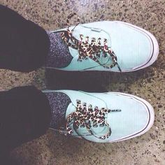 7c7e0e531b5a Mint colored Vans with leopard laces! Mint Green Vans