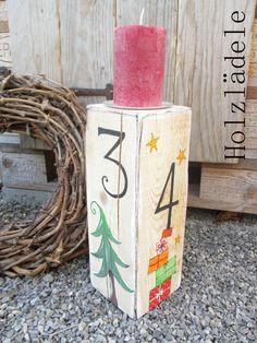 *ADVENT* 1, 2, 3, 4... Holzbalken * von Holzlädele - Schönes aus Holz auf DaWanda.com