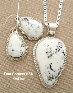 Four Corners USA Online Native American Artisan Jewelry - Large White Turquoise Pendant Necklace Earring Set Native American Indian Silver Jewelry NAN-1404, $345.00 (http://stores.fourcornersusaonline.com/large-white-turquoise-pendant-necklace-earring-set-native-american-indian-silver-jewelry-nan-1404/)