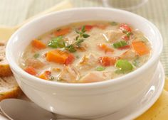 Try any one of our quick and easy recipes using Carnation Fat Free or Evaporated milk. The perfect low fat substitute for cream in most recipes. Baked Potato Soup, Sweet Potato Soup, Recipes For Soups And Stews, Soup Recipes, Recipies, Chicken Pot Pie Soup Recipe, Roast Chicken, Carnation Milk Recipes, Pea And Mint Soup