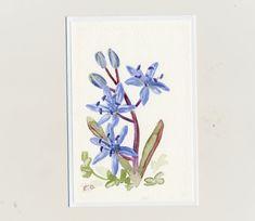 maľovaná pohľadnica - modrý kvietok