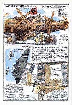 Hayao Miyazaki's Daydream Data Notes (1997) - Imgur Hayao Miyazaki, Totoro, Anime Manga, Anime Art, Japon Tokyo, War Comics, Girls Anime, Ghibli Movies, Vintage Airplanes