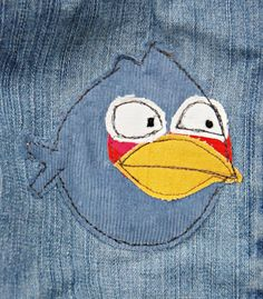 Patch boys jeans with Angry birds