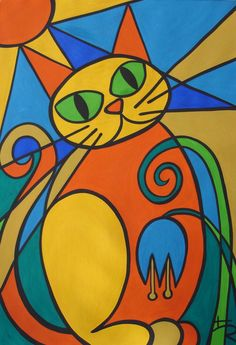stained glass cat by *essencestudios on deviantART Cubism Art, Halloween Painting, Stained Glass Art, Hanging Art, Cat Art, Painted Rocks, Art For Kids, Art Drawings, Drawing Drawing