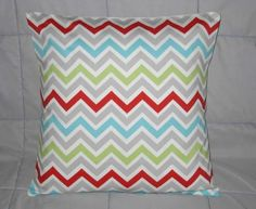 Pillow Cover. Green. Gray. Red. Aqua. White. Chevron. Zig Zag. 16 x 16. Accent Pillow Cover. Decorative Pillow Cover. $16.00, via Etsy.
