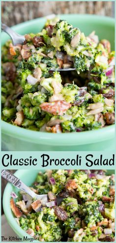 This bacon broccoli salad is a classic! The secret that makes this the best broccoli salad ever is to chop the ingredients very small, then let the salad sit overnight for max flavor! de ensalada de tocino y brocoli Easy Broccoli Salad, Brocolli Cauliflower Salad, Brocoli Salad Recipe, Brocolli Salad With Bacon, Vegetarian Broccoli Salad, Low Carb Brocolli Salad, Broccoli Raisin Salad, Riced Broccoli Recipes, Best Broccoli Salad Recipe