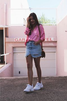 Zapatillas fila disruptor outfit look despojado feminino, tenis branco, outras roupas, looks estilosos Spring Outfits, Trendy Outfits, Cute Outfits, Fashion Outfits, Moda Outfits, Outfit Summer, Womens Fashion, Outfits Primavera, Sneaker Outfits