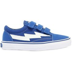 Revenge X Storm Women Bolt Canvas & Suede Strap Sneakers ($445) ❤ liked on Polyvore featuring shoes, sneakers, blue, blue sneakers, hooks shoes, monk-strap shoes, strap sneakers and blue strap shoes