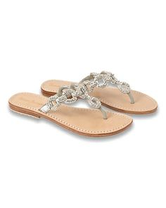 Tommy Bahama Beaded Silver Sandals - just bought these for our trip to Cancun.love the bling! Fancy Shoes, Pretty Shoes, Cute Shoes, Me Too Shoes, Flat Shoes, Beaded Sandals, Silver Sandals, Cute Sandals, Women's Sandals