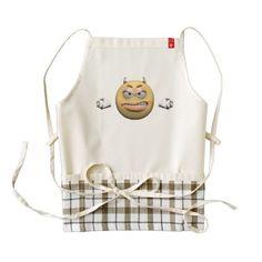 #Angry emoticon female zazzle HEART apron - #emoji #emojis #smiley #smilies