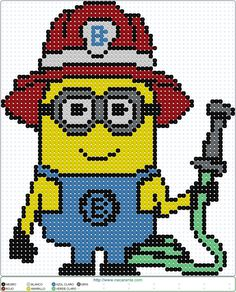 minion bombero EN HAMA BEADS, Perler Bead Patterns