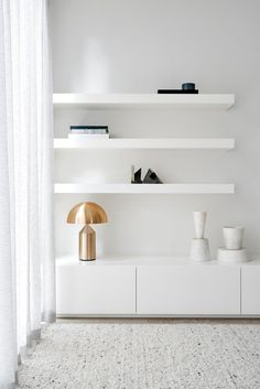 Brighton Residence - Local White Floating Shelves - We Are Huntly - Interior Archive 8 Design Living Room, Home Living Room, Living Room Decor, Living Spaces, Bedroom Decor, Wall Decor, Room Furniture Design, Plywood Furniture, Living Room Furniture