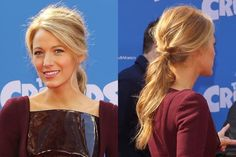 Blake Lively romantic low ponytail | allure.com
