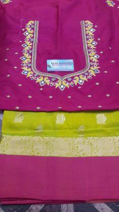 Zardosi Work Design, Maggam Work Designs, Simple Blouse Designs, Blouse Designs Silk, Sari, Saree Blouse, Blouse Neck, Handmade Embroidery Designs, Mirror Work Blouse Design