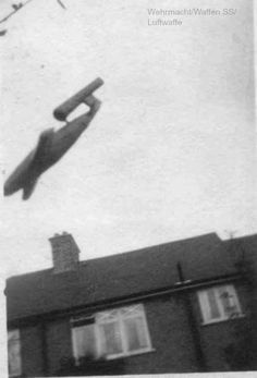 A V-1 flying bomb about hit London