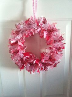 Valentine's Day Fabric and Ribbon Rag by RagWreathsbyMissVal, $40.00