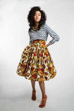 Jupe en pagne-africain-African print skirt by Jinaki via ciaafrique.com