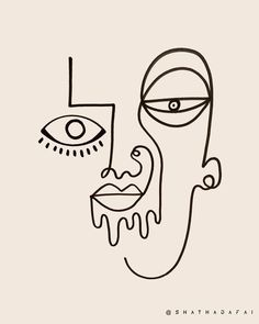 One line art by Shatha Al Dafai - True Self ? [ One line art by Shatha Al Dafai - True Self ? Abstract Face Art, Abstract Lines, Aesthetic Drawing, Aesthetic Art, Aesthetic Makeup, Funny Drawings, Art Drawings, Drawing Faces, Face Line Drawing