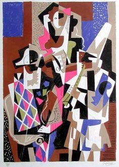 "Gino Severini ""The Musicians"", 1955 (Italy, Cubism, cent. Italian Painters, Italian Artist, Henri Matisse, Pablo Picasso, Gino Severini, Cubist Artists, Italian Futurism, Futurism Art, Image Halloween"