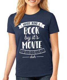 Navy 'Never Judge a Book By It's Movie' Crewneck Tee - Plus