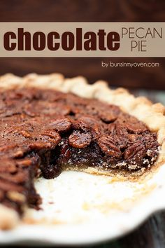 Chocolate Pecan Pie #recipe by bunsinmyoven.com  >whenever I serve my choc pecan pie everyone is happily surprised to find that it's not just another 'pecan pie'.