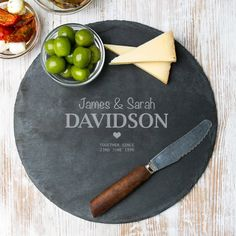 Personalised 'Mr And Mrs' Wedding Round Slate Chopping Board ($80) ❤ liked on Polyvore featuring home and kitchen & dining