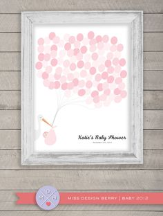 Baby shower guest book alternative - girl pink balloons. $48.00, via Etsy.