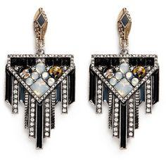 Lulu Frost 'Citadel' glass opal drop earrings found on Polyvore featuring jewelry, earrings, american jewelry, art deco drop earrings, drop earrings, lulu frost jewelry and vintage style earrings