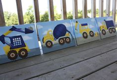Set of 4 Construction Trucks Boys Bedroom 11x14 by ToadAndLily, $120.00