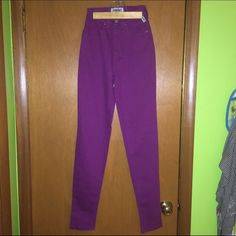 "Vintage high waisted Versace jeans Gorgeous purple skinny jeans by Versace jeans couture. 31.5"" inseam. Size 24 which is like a 0. New with tags. Smoke free. Versace Jeans Skinny"