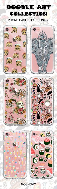 Mosnovo Doodle Art (Totoro, Elephant, Monkey Emoji, Star War, Ice-Cream,Sushi) iPhone 7 Cases Collection☞ http://amzn.to/2edheZK #Mosnovo