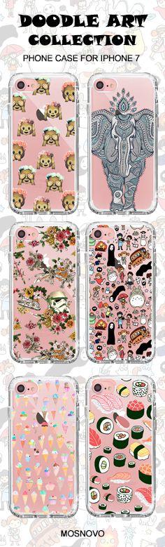 Mosnovo Doodle Art (Totoro, Elephant, Monkey Emoji, Star War, Ice-Cream,Sushi) iPhone 7 Cases Collection☞ http://amzn.to/2edheZK #Mosnovo