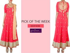 GET THIS LOOK -BIG AND BRIGHT Look all glam in a Gold dot shimmer embroidered anarkali set Shop at -http://goo.gl/z4EUUh