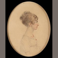 John Turmeau (British, 1777-1846)  A Lady, profile to the right, wearing white dress, coral necklace and matching brooch, her hair upswept   pencil and watercolour on card, signed on the obverse J Turmeau/ Deln