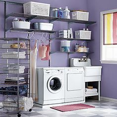 Kitchen:Purple Theme Laundry Room Ideas With Nice Shelves Organizing Renovating Small Laundry Room Ideas