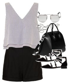 A fashion look from April 2016 featuring striped shirt, cotton shorts and black flats. Browse and shop related looks. Simple Outfits, Short Outfits, Classy Outfits, Chic Outfits, Summer Outfits, Girl Outfits, Fashion Outfits, Womens Fashion, Summer Clothes