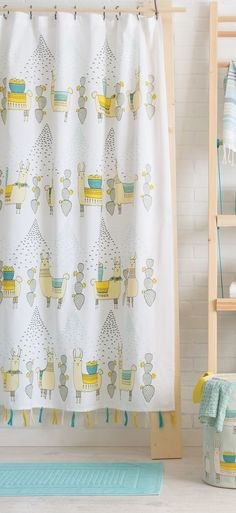 Llamarama 100% Cotton Shower Curtain