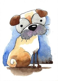 ACEO Original watercolor art painting whimsical animal pug dog - my best side #IllustrationArt