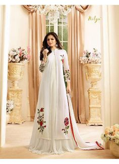 b1341013a8 Off-White Georgette Jacket Style Anarkali Nitya 1601 Series 1607 By Lt  Fabrics