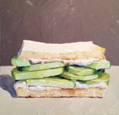 """Cucumber on white bread without the crusts"" by Karen Appleton Kitchen Prints, Kitchen Art, Food Illustrations, Illustration Art, Food Painting, Diy Painting, Food Drawing, Still Life Art, Painting Inspiration"