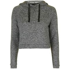 Topshop Knit Crop Lounge Hoodie ($40) ❤ liked on Polyvore featuring tops, hoodies, cropped pullover hoodie, cropped hoodies, long sleeve hoodie, hooded pullover sweatshirt and long sleeve pullover