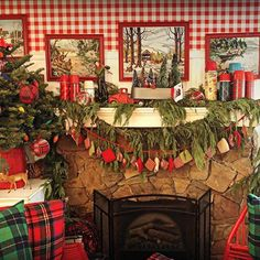 He'll be coming down the chimney soon ,,,and we're ready. Christmas Time Is Here, Prim Christmas, Christmas Mantels, Country Christmas, Christmas Holidays, Christmas Crafts, Southwestern Home Decor, Cabin In The Woods, Vintage Cabin