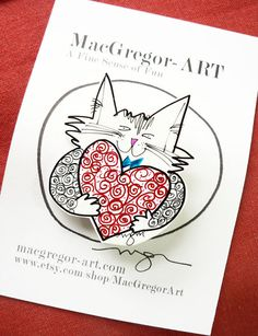 Love is not just for February Lover Cat Brooch by MacGregorArt, $15.00